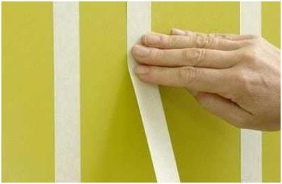 Декоративная покраска стен с малярной клейкой лентой